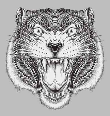Naklejka Szczegółowe ręcznie rysowane Abstract Tiger
