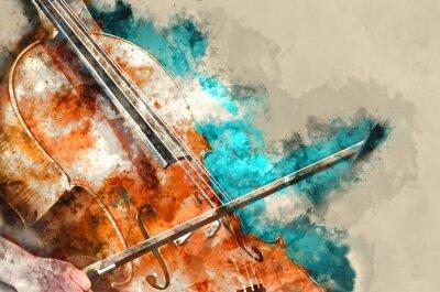 Naklejka Szczegółowo kobiety odtwarzanie wiolonczela sztuki malarskiej artprint