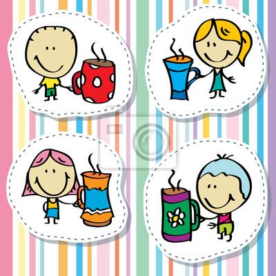 Naklejka Szczęśliwa rodzina doodle z filiżanki herbaty i kawy