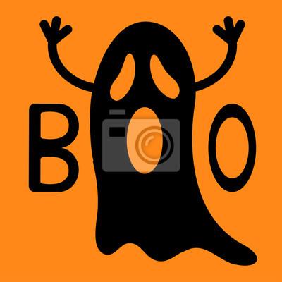 Szczęśliwego Halloween Funny Czarny Latający Duch Rękami Tekst Naklejki Redro