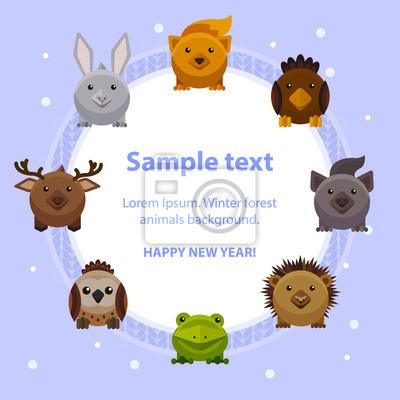 Naklejka Szczęśliwego nowego roku karty słodkie zwierzęta leśne, styl mieszkania wektor