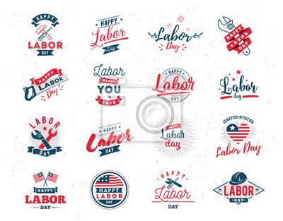 Naklejka Szczęśliwi Święto Pracy emblematy