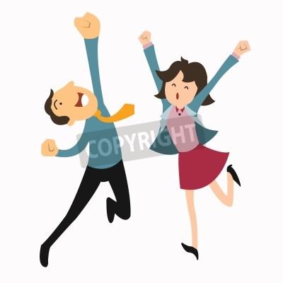 Naklejka Szczęśliwy człowiek biznesu i kobieta skoków w powietrzu radośnie uczuć i emocji koncepcji