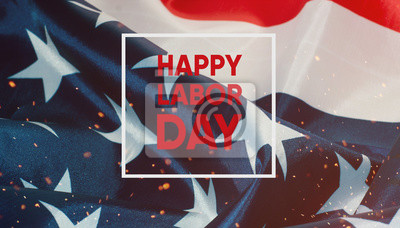 Naklejka Szczęśliwy dzień pracy banner.American Patriotyczne tło.