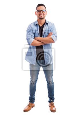 Naklejka Szczęśliwy hipster w białym tle