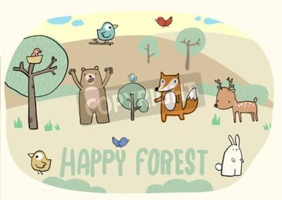 Naklejka Szczęśliwy las i zabawna kolekcja zwierząt, ptaków, lisy, niedźwiedzie, jelenie, króliki