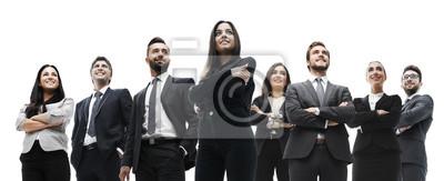 Naklejka szczęśliwy udany zespół biznesu na białym tle