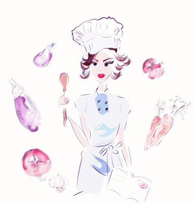 Naklejka Szef kuchni z warzywami. Ilustracja z kucharzem