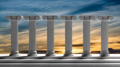 Naklejka Sześć starożytne filary z tle zachodu słońca nieba.