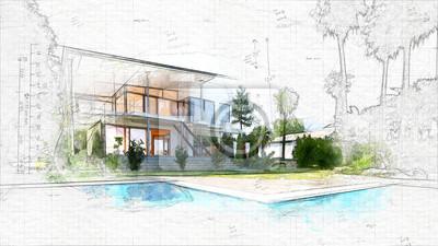Naklejka szkic architektoniczny domu