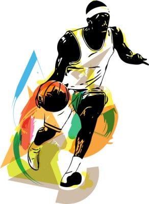 Naklejka Szkic koszykarz