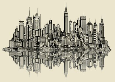 Naklejka szkic Nowym Jorku