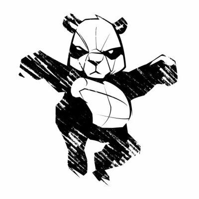 Naklejka Szkic panda sztuki walki