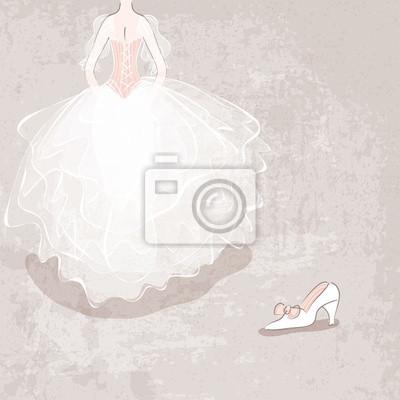 Naklejka szkic panna młoda w sukni ślubnej na tle grungy