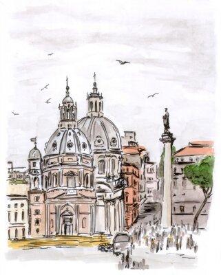 Szkic placu w Rzymie