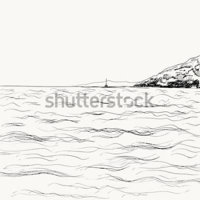 Naklejka Szkic wektor lato seascape. Widok na morze i góry