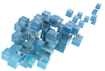 Naklejka szklane kostki na białym tle. obraz wygenerowany cyfrowo