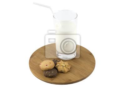 Naklejka Szklanka mleka i ciasteczka