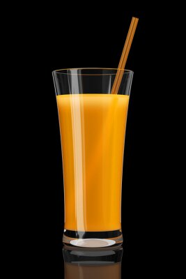 Naklejka Szklanka soku pomarańczowego na czarnym tle 3D