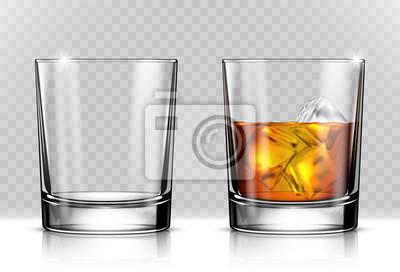 Naklejka Szkło szkockiej whisky i lodu na przezroczystym tle