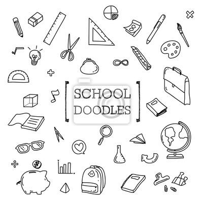 Szkoła Doodle Rysunki Ręczne Rzeczy Szkolnych Naklejki Redro