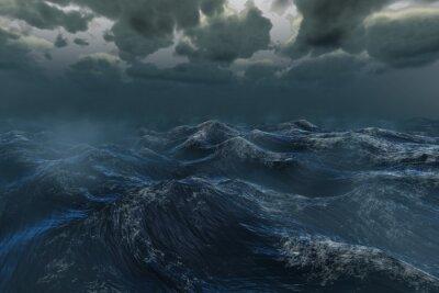 Naklejka Szorstki burzliwy ocean pod ciemnym niebem
