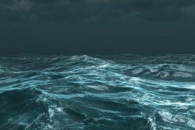 Naklejka Szorstki ocean pod ciemnym niebie burzliwy