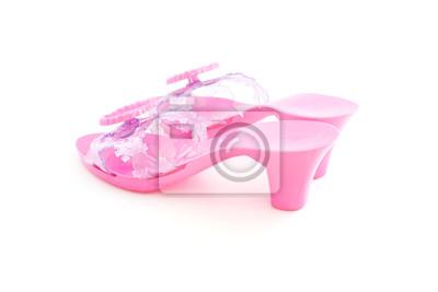 5a18aa44e97c2 Naklejka szpilki plastikowe różowe buty dla dziewczyny na białym tle ...