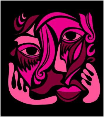 Naklejka Sztuka abstrakcyjna twarzy Funky
