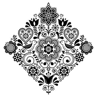 Naklejka Sztuka ludowa retro wektor wzór kwadratowy z ptaków i kwiatów, skandynawski czarno-biały symetryczny wzór