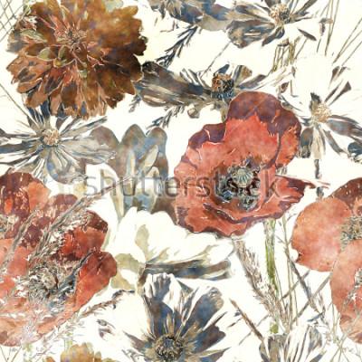 Naklejka sztuka w stylu vintage kolorowy kwiatowy wzór z czerwonych maki, białe piwonie, liście i trawnik na białym tle