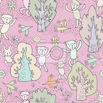 Naklejka Szwu. Obraz wesoły cute cartoon leśnych zwierząt