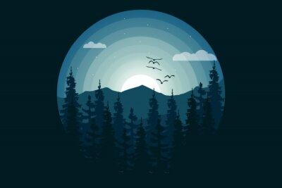 Naklejka T-shirt nature jungle mountain night beautiful style illustration