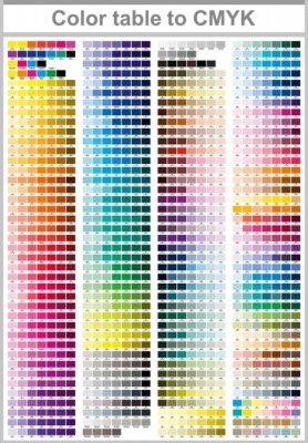 Naklejka Tabela kolorów Pantone na CMYK. Strona testowa wydruku kolorowego. Ilustracja Kolory CMYK do druku. Paleta kolorów wektora