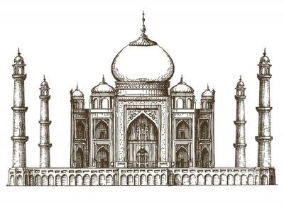 Naklejka Taj Mahal logo wektor szablon projektu. Indie lub ikony podróży.