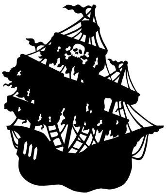 Naklejka Tajemnicza sylwetka statek piracki