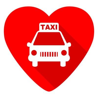 Naklejka Taksówka czerwone serce Valentine płaskim ikona