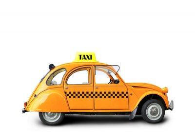 Naklejka Taksówka, samochód retro pomarańczowy kolor na białym tle