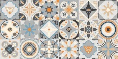 Naklejka Talavera pattern. Indian patchwork. Azulejos portugal. Turkish ornament. Moroccan tile mosaic. Ceramic tableware, folk print. Spanish pottery. Ethnic background. Mediterranean seamless wallpaper.