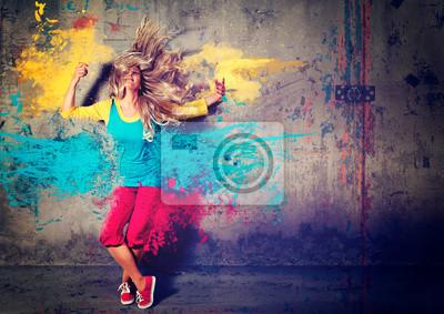 Naklejka taniec dziewczyna z kolorowymi plamami - rusza 04