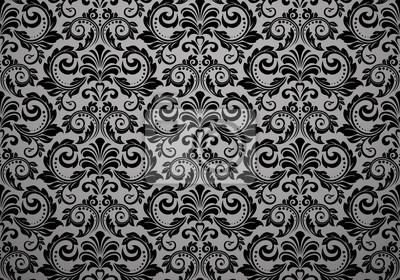 Naklejka Tapeta w stylu barokowym. Bezszwowe tło wektor. Czarny kwiatowy ornament. Wzór graficzny dla tkaniny, tapety, opakowania. Ozdobny ornament kwiat Adamaszek