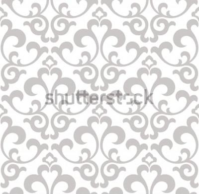 Naklejka Tapeta w stylu baroku. Bezszwowe tło wektor Szaro-biała tekstura. Kwiatowy ornament. Wzór graficzny wektor.