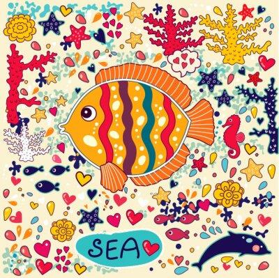 Naklejka Tapety wektorowe z ryb i życia morskiego