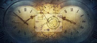 Naklejka Tarcze starych zabytkowych zegarów klasycznych na tle papieru w stylu vintage. Pojęcie czasu, historii, nauki, pamięci, informacji. Styl retro. Tło w zegarku.
