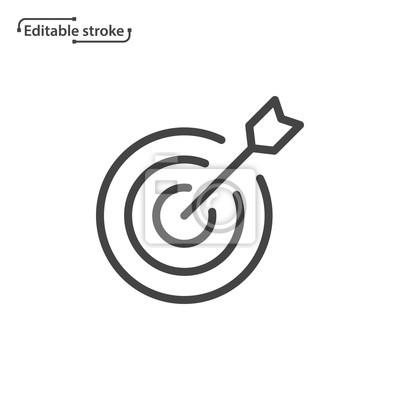 Naklejka Target with arrow vector icon. Editable stroke.