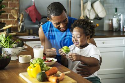 Naklejka Tata i syn gotowania razem