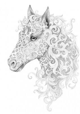 Naklejka Tatuaż, piękna głowa konia z grzywą