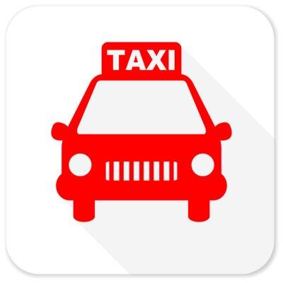 Naklejka taxi czerwony płaski ikona z długim cieniem na białym tle