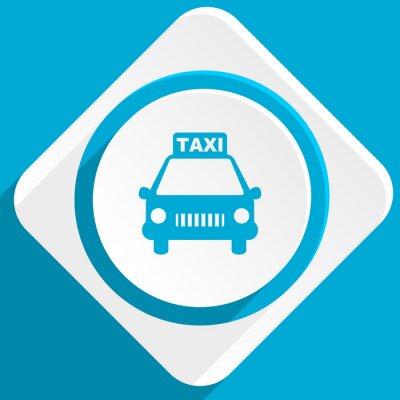Naklejka taxi niebieski płaska nowoczesne ikony dla sieci web i aplikacji mobilnej
