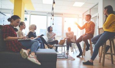 Naklejka team meeting and brainstorming